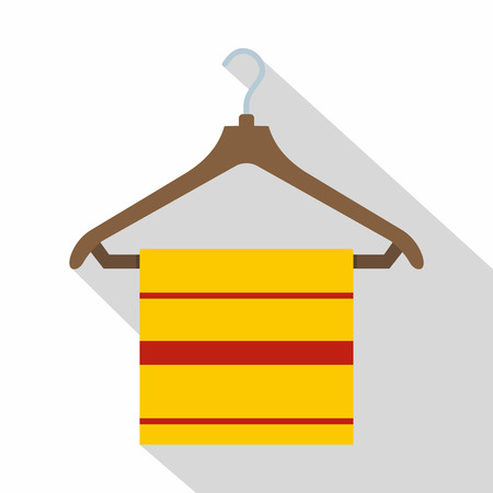Yellow scarf on wooden coat hanger icon flat style Illustration