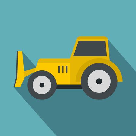 skid: Skid steer loader icon, flat style