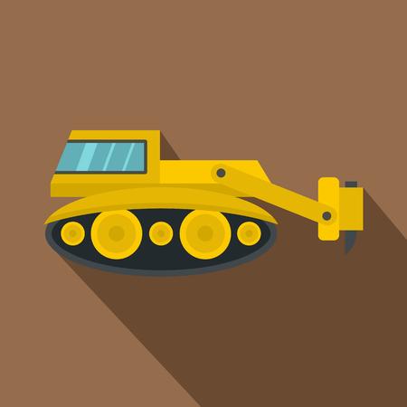掘削機油圧ハンマーのアイコン、フラット スタイル