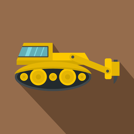 slog: Excavator with hydraulic hammer icon, flat style