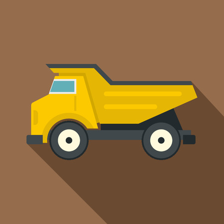 Yellow dump truck icon, flat style