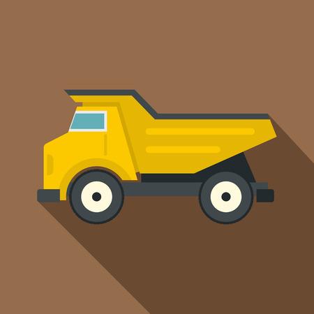 Yellow dump truck icon, flat style