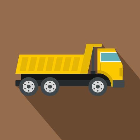 Dumper truck icon, flat style
