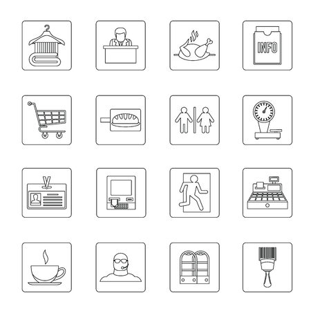 icons: Supermarket navigation icons set, outline style