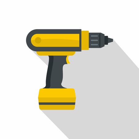 Yellow electric screwdriver drill icon, flat style Illustration