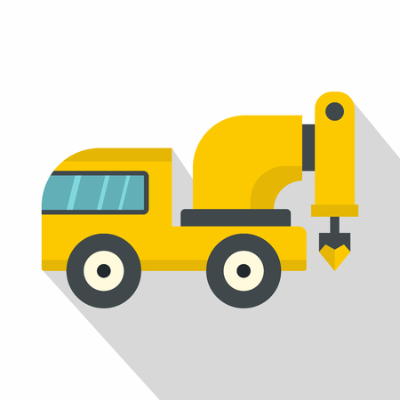 Yellow drilling machine icon, flat style Illustration