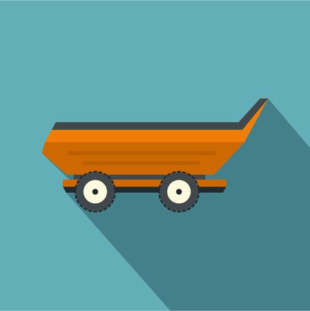 Orange car trailer icon, flat style Illustration