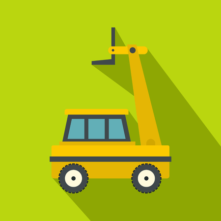 Yellow cherry picker icon, flat style Illustration