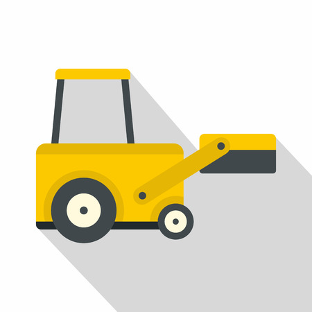 Yellow truck to lift cargo icon, flat style