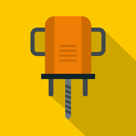 Orange boer drill icon, flat style Illustration