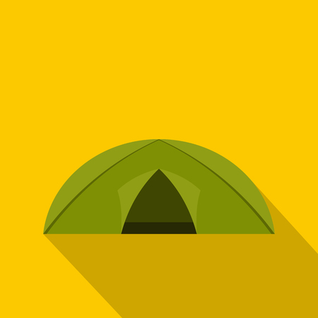 Green tent for camping icon, flat style