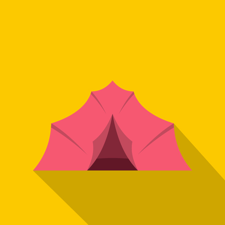 Pink tent for camping icon, flat style Illustration