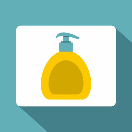 cleanse: Yellow liquid soap bottle icon, flat style
