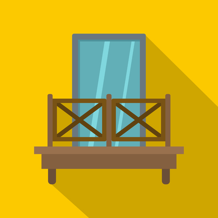 Balcony with wooden fence icon, flat style Stock Illustratie