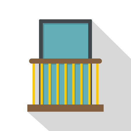 Balcony with yellow fencing icon, flat style