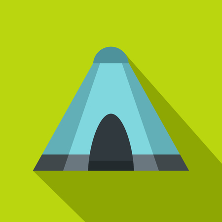 Blue tent icon, flat style