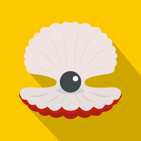 Pearl in a shell icon, flat style
