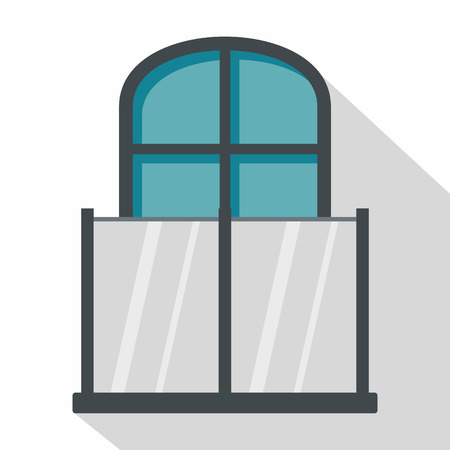 Balcony with a glass fence and an arched window icon. Flat illustration of balcony with a glass fence and an arched window vector icon for web