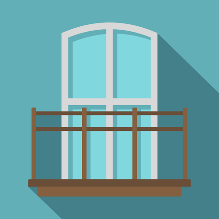 Balcony in french style icon. Flat illustration of balcony in french style vector icon for web