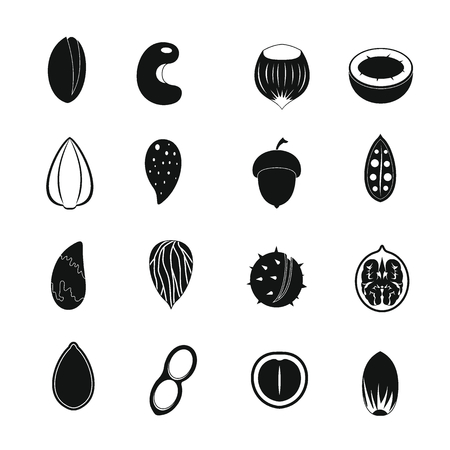 brazil nut: Nuts icons set. Simple illustration of 16 nuts vector icons for web Illustration