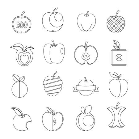 Apple icons set design logo. Outline illustration of 16 apple design logo vector icons for web Illustration
