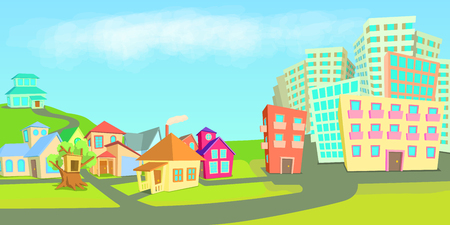 City houses horizontal banner concept types. Cartoon illustration of city houses types vector horizontal banner for web Illustration
