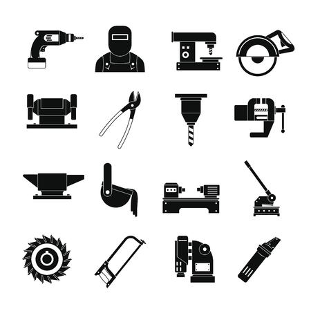 金属のアイコンを設定します。16 金属作業ベクトルのアイコン web の簡単な図  イラスト・ベクター素材