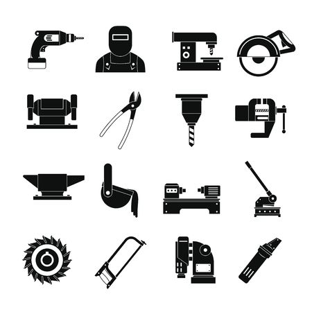 Metal working icons set. Simple illustration of 16 Metal working vector icons for web