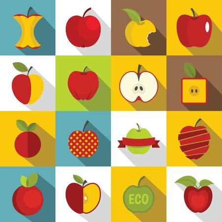 Apple icons set design  . Flat illustration of 16 apple design  vector icons for web