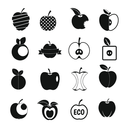 Apple icons set design  . Simple illustration of 16 apple design  vector icons for web