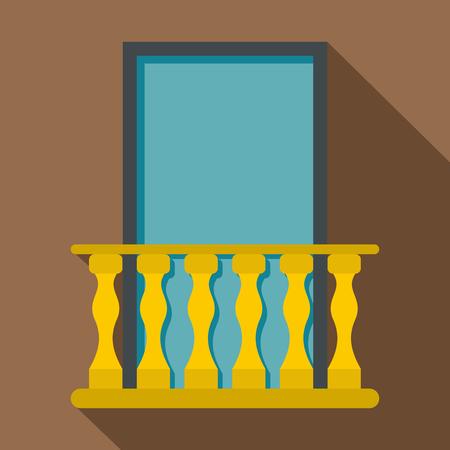 balustrade: Balcony icon. Flat illustration of balcony vector icon for web Illustration