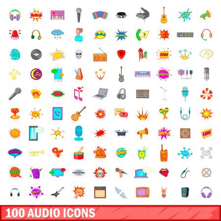 eject: 100 audio icons set, cartoon style Illustration