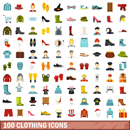 100 clothing icons set, flat style