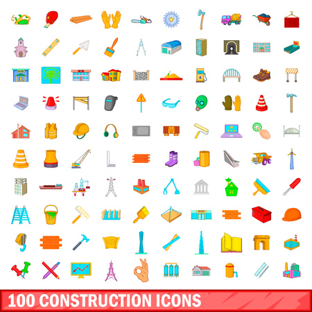 footing: 100 construction icons set, cartoon style