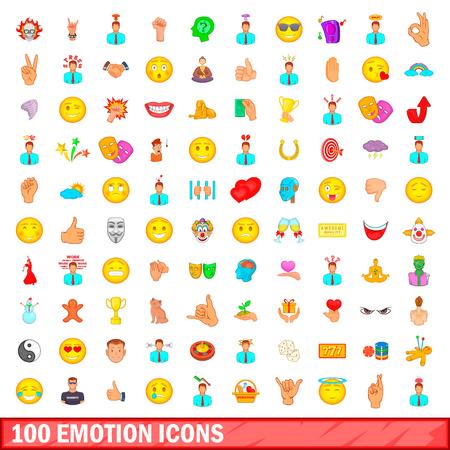 100 emotion icons set, cartoon style