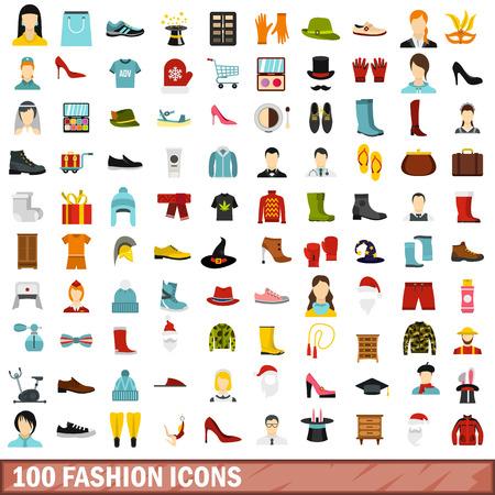 100 fashion icons set, flat style