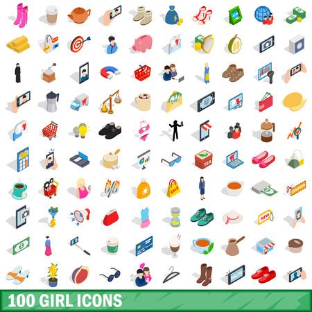 100 dziewczynki zestaw ikon, izometryczny 3d stylu Ilustracje wektorowe