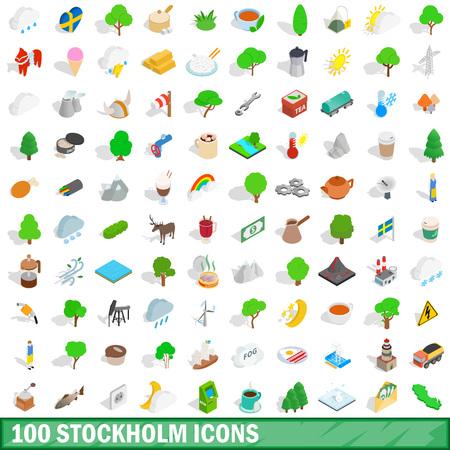 european culture: 100 stockholm icons set, isometric 3d style