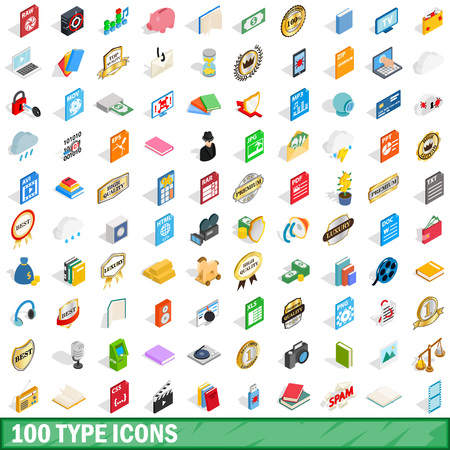 100 type icons set, isometric 3d style