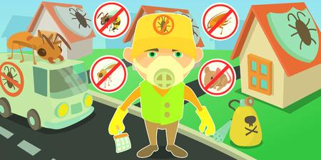 Pest control horizontal banner, cartoon style