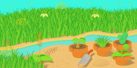 pistil: Nature horizontal banner concept, cartoon style