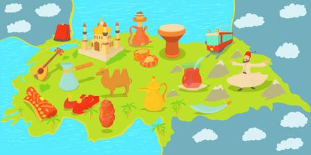 Turkey travel map horizontal banner, cartoon style