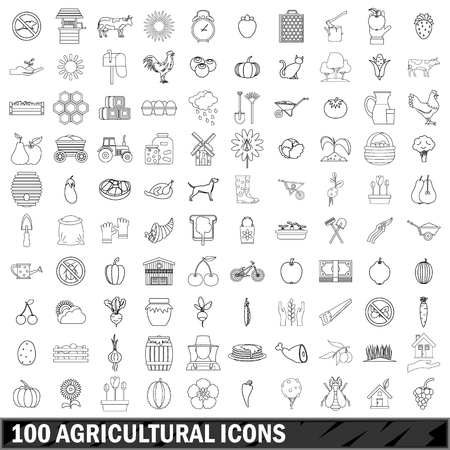 100 agricultural icons set, outline style