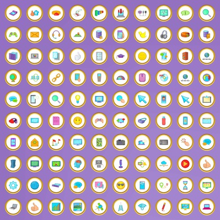 processing speed: 100 computer network icons set in cartoon style on purple background vector illustration