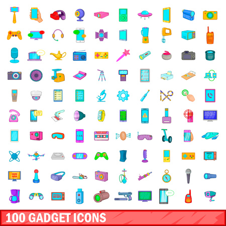 100 gadget icons set in cartoon style for any design vector illustration