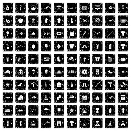 scale icon: 100 hobby icons set, grunge style Illustration