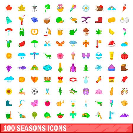 100 season icons set, cartoon style