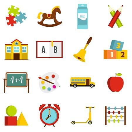 scores: Kindergarten symbol icons set in flat style