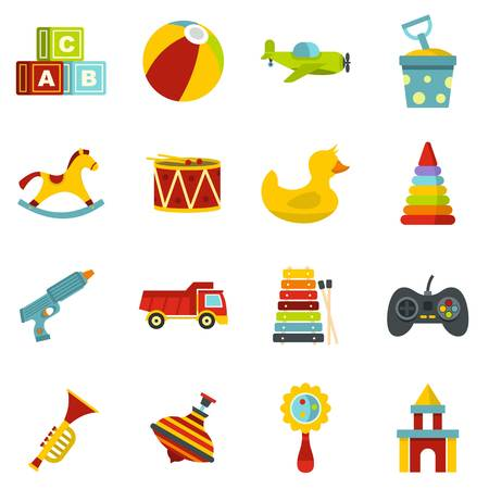 top gun: Different kids toys icons set in flat style Illustration