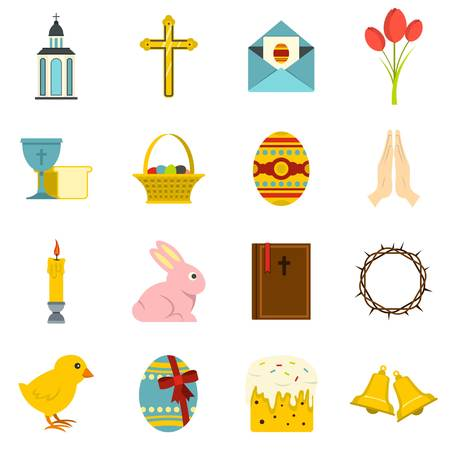 Easter items icons set in flat style Illustration